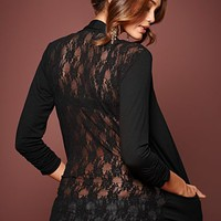 Black (BK) Sheer Back Cardigan