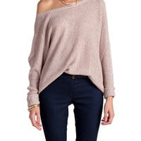 Heathered and Knitted Long Sleeve Top - Mauve