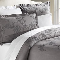 Chenille Floral Embroidered Duvet Cover & Sham