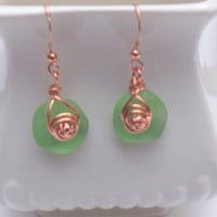 Green Seaglass Earrings, Copper Wire Wrapped, Handmade by Lyrisgems