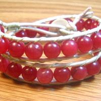 Beaded Wrap Bracelet In Cherry Red Beads