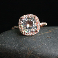 Single Halo 14k Rose Gold 9mm White Topaz Cushion and Diamonds Wedding or Engagement Ring (Choose color and size options at checkout)