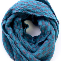 Blue Checker Knit Scarf