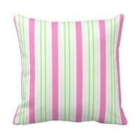 Girly Pink and Green Stripes