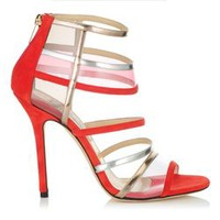Flame Suede and Metallic Leather Sandals | Cruise 2013 | JIMMY CHOO Sandals