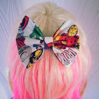 Marvel hair bow / Avengers hair bow / Iron Man bow / Hulk bow / Thor / Wolverine / Fabric bow / Marvel hair clip / super hero hair bow