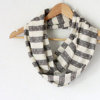 Skinny infinity scarf grey striped man or women scarf / loop scarf