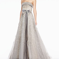 Carolina Herrera Strapless Tulle Gown, Platinum