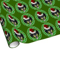 Christmas Dachsund dog green wrapping paper
