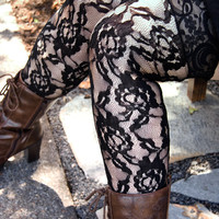Socks by Sock Dreams » .Socks » Thigh Highs » Rose Lace Stockings with Lace Top