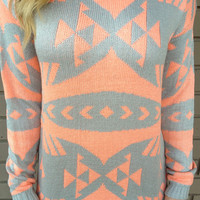 Neon Coral & Grey Tribal Knit Sweater