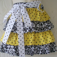 Retro Yellow and Black Ruffles Half Apron , Polka Dot Apron / Damask Apron / Yoyo Flower / Eclectasie
