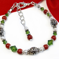 Festive Red Green Bracelet White Pearls Christmas Jewelry Adjustable