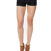 DARK DENIM SHORTS W/ SKINNY BELT