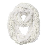 Faux Fur Stripe Cable Infinity Scarf