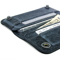 RETROMODERN aged leather iPhone wallet - - BLACK MARINE