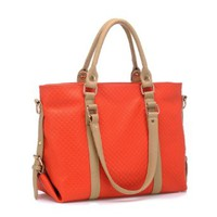 Elegant Classical Mixing Color Emboss Simple Handbag Shoulder Bag