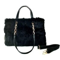 Elegant Flocky Fur Spliced Black Diamond Check Handbag Shoulder Bag