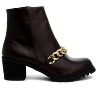 Ankle Boots with Golden Chain Decor