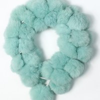 Faux Fur Bobble Scarf in Mint