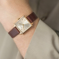 Vintage mens watch New Wave dandy style watch gold plated wristwatch square face design watch