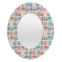 Sharon Turner Light Sherbet Owls Oval Mirror BLACK FRIDAY SALE