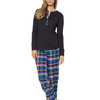 Kids' | Sleepwear & Sets | Long-Sleeve Henley Knit Top & Woven Pant Pajama Set | Lord and Taylor