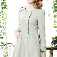 Round Neck Double Breasted Trench Coat