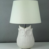 Owl Woven Textured Table Lamp | Dunelm
