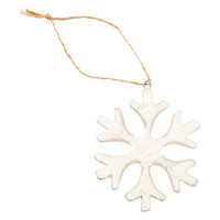Whitewashed Wooden Snowflake Tie-On