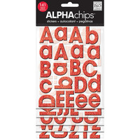 Red Glitter Alphabet Stickers