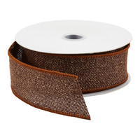 Chocolate Glitter Burlap Wired Ribbon