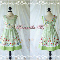 Lady Lolita - Adorable Cutie Backless Dress With Pretty Bow Tie Green Stripe And Cartoon Print Party Dress Sundress Tea Dress