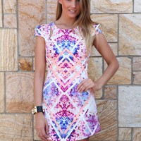 Pink & White Print Cutout Mini Dress