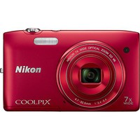 Nikon - Coolpix S3500 20.1-Megapixel Digital Camera - Red