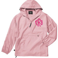 Monogrammed Pullover Jacket with a Hood Maroon Navy Red Pink Green Royal Blue Black Khaki Purple Lightweight and Water Resistant