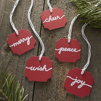 5-Piece Red and White Paper Script Gift Tag Set: one of each design.