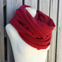 ULTRA CHUNKY Burgundy Infinity Scarf - Red Wine Eternity Scarf - Snood Hood - Sangria - Unisex