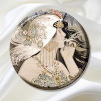 Pocket Mirror - Art Deco 1920s Flapper Smoker -Party Favor, Bridesmaid Gift, Birthday, Stocking Stuffer MR365
