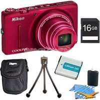 Nikon - Bundle COOLPIX S9500 18.1 MP 22x Zoom Built-In Wi-Fi Digital Camera - Red