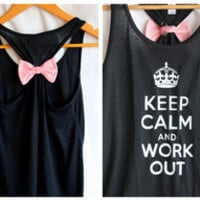 Keep Calm and Work Out Bow Tank Top Black - LARGE