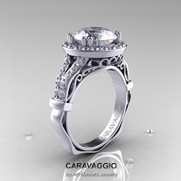 Caravaggio 14K White Gold 3.0 Ct White Sapphire Diamond Engagement Ring, Wedding Ring R620-14KWGDWS
