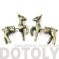 Fake Gauge Earrings: Bambi Deer Animal Faux Plug Earrings in Brass
