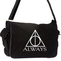ALWAYS Harry Potter Messenger Bag Deathly Hallows Black and White Messenger