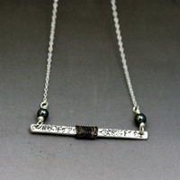 Sterling Silver Horizontal Bar Necklace – wire-wrapped metalwork