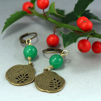 Holly Earrings - Jade and Brass Dangle Earrings