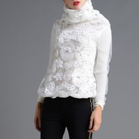 Lace Turtleneck Sweater