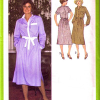 SALE - 1970s Misses' Shirtdress and Belt / UNCUT FF / Vintage Dress Pattern / Simplicity 9017