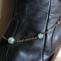 Jade and Brass Bootlet Beaded Chain Boot Bracelet