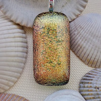 Dichroic Pendant, Fused Dichroic Glass Pendant, Dichroic Glass Jewelry- Peach Gold